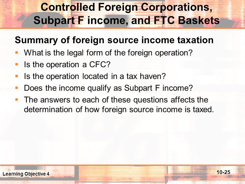 Controlled Foreign Corporations, Subpart F income, and FTC Baskets