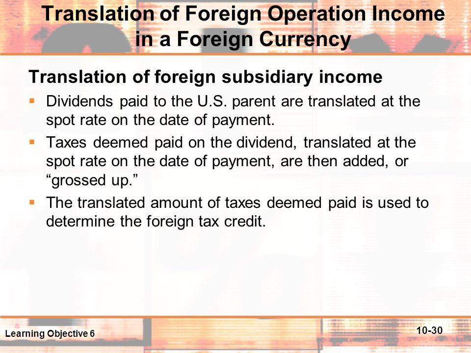 Translation of Foreign Operation Income in a Foreign Currency