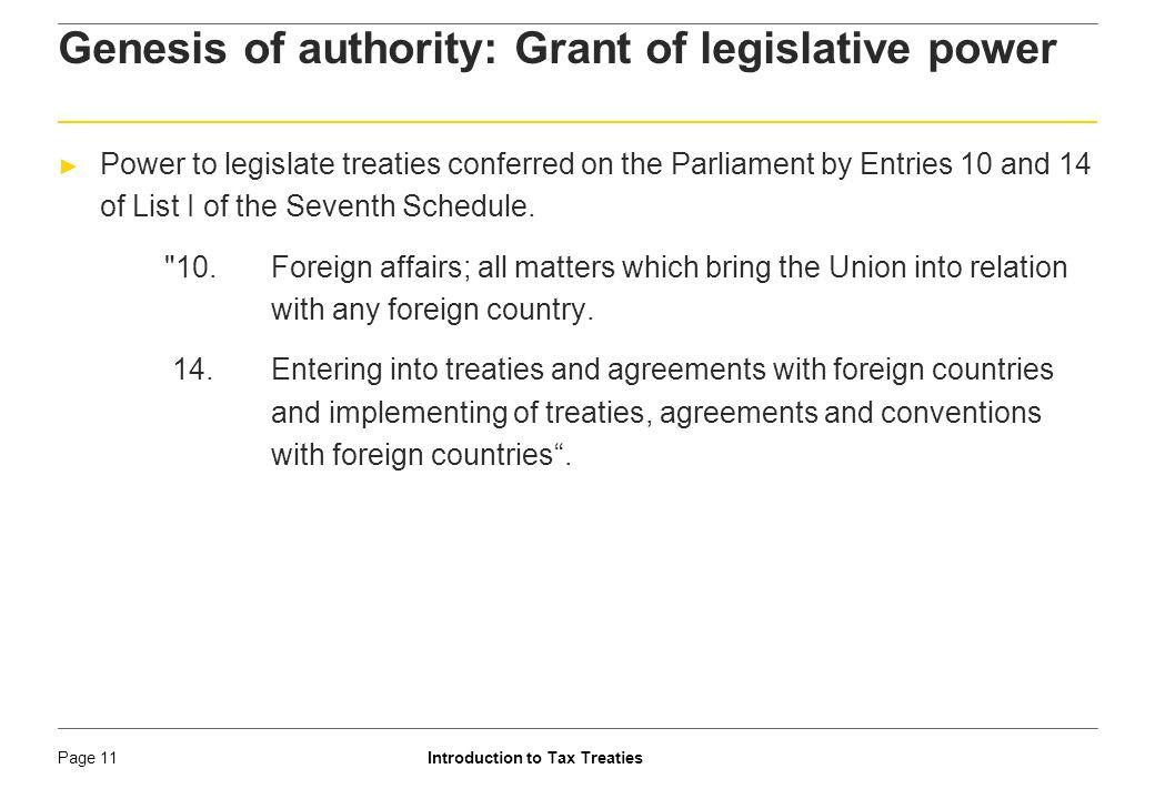 Genesis of authority: Grant of legislative power