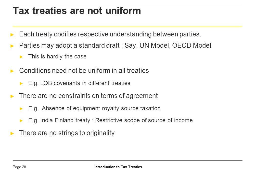 Tax treaties are not uniform