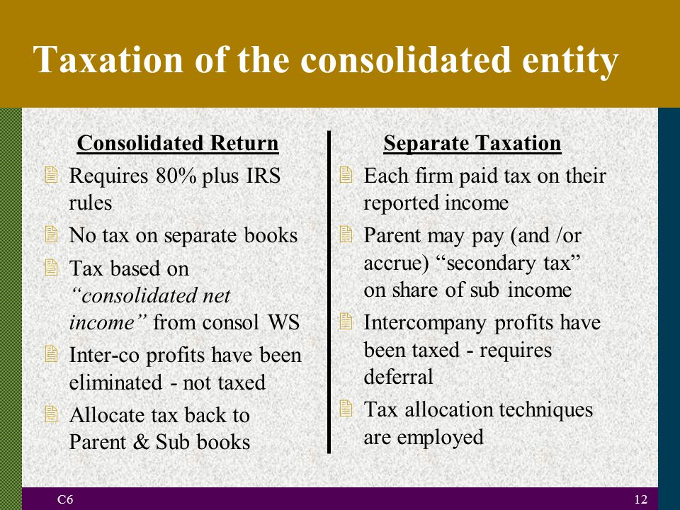 Taxation of the consolidated entity
