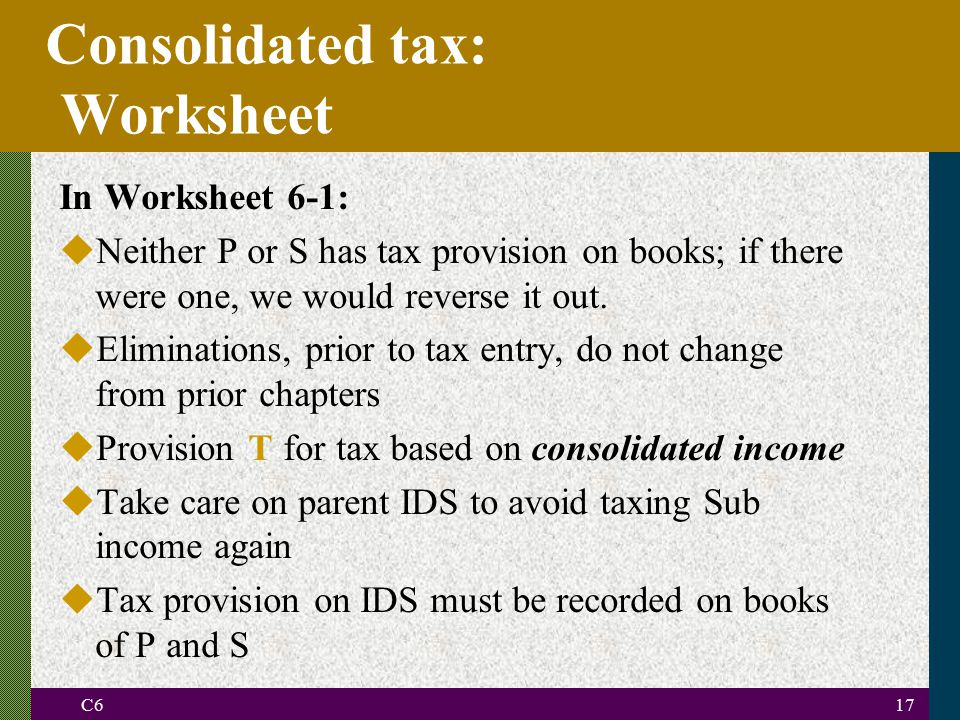 Consolidated tax: Worksheet