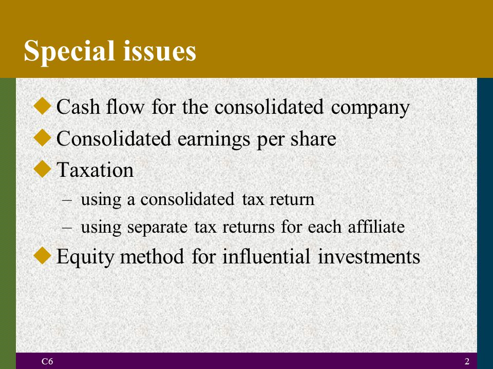 Special issues Cash flow for the consolidated company