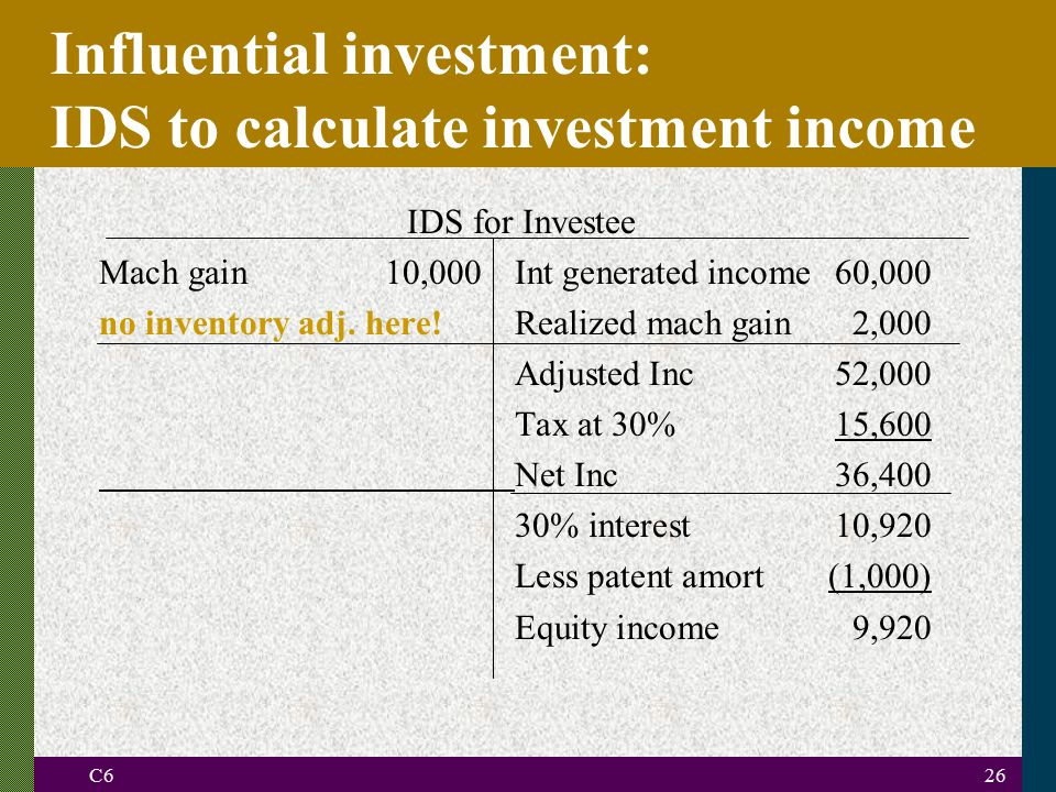 Influential investment: IDS to calculate investment income