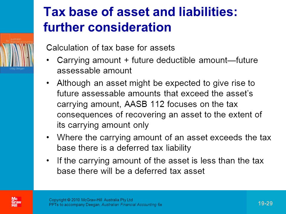 Tax base of asset and liabilities: further consideration
