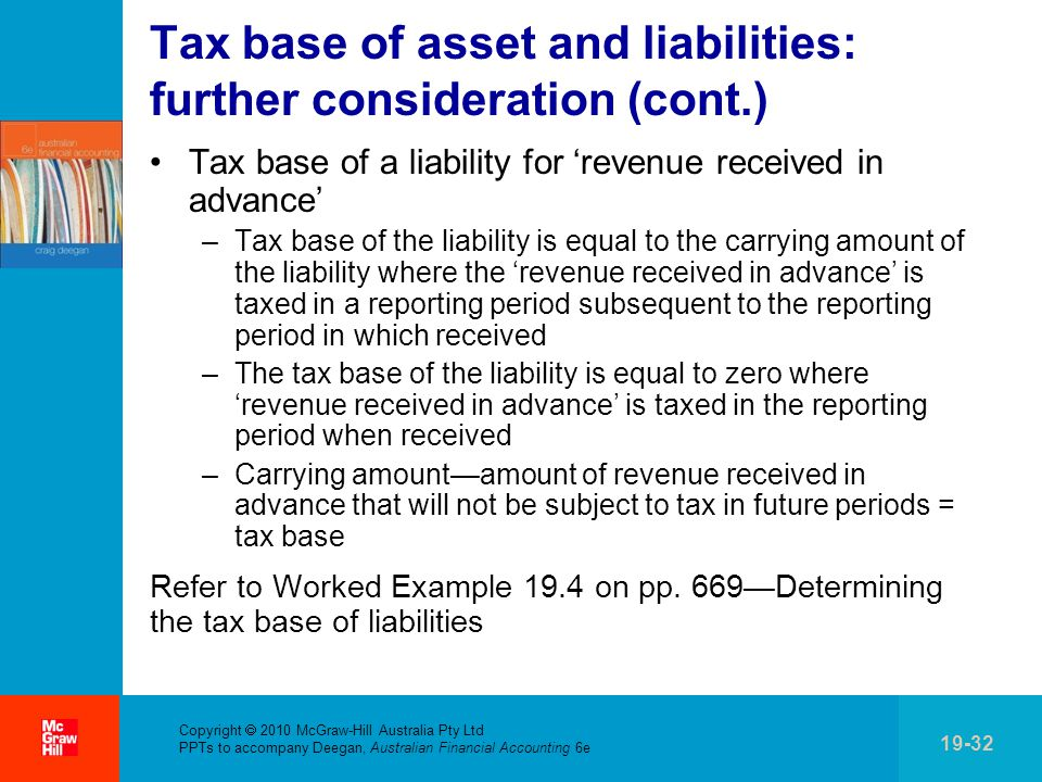 Tax base of asset and liabilities: further consideration (cont.)