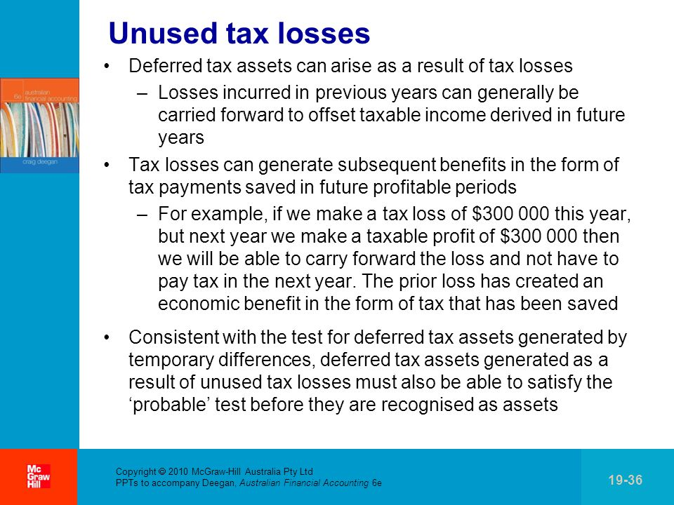 Unused tax losses Deferred tax assets can arise as a result of tax losses.