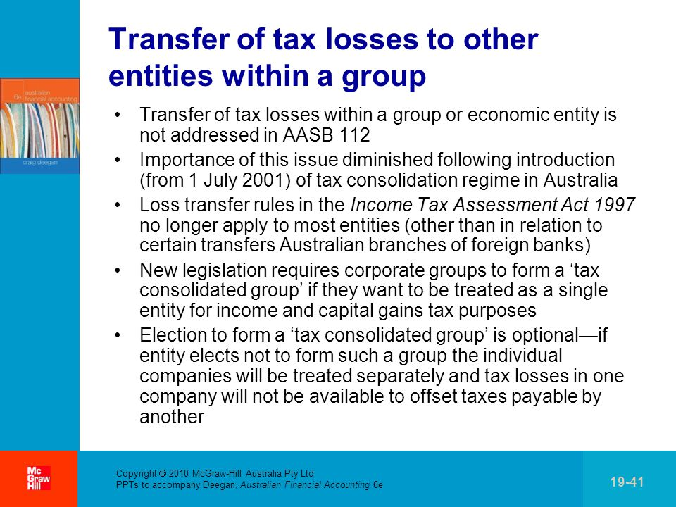 Transfer of tax losses to other entities within a group