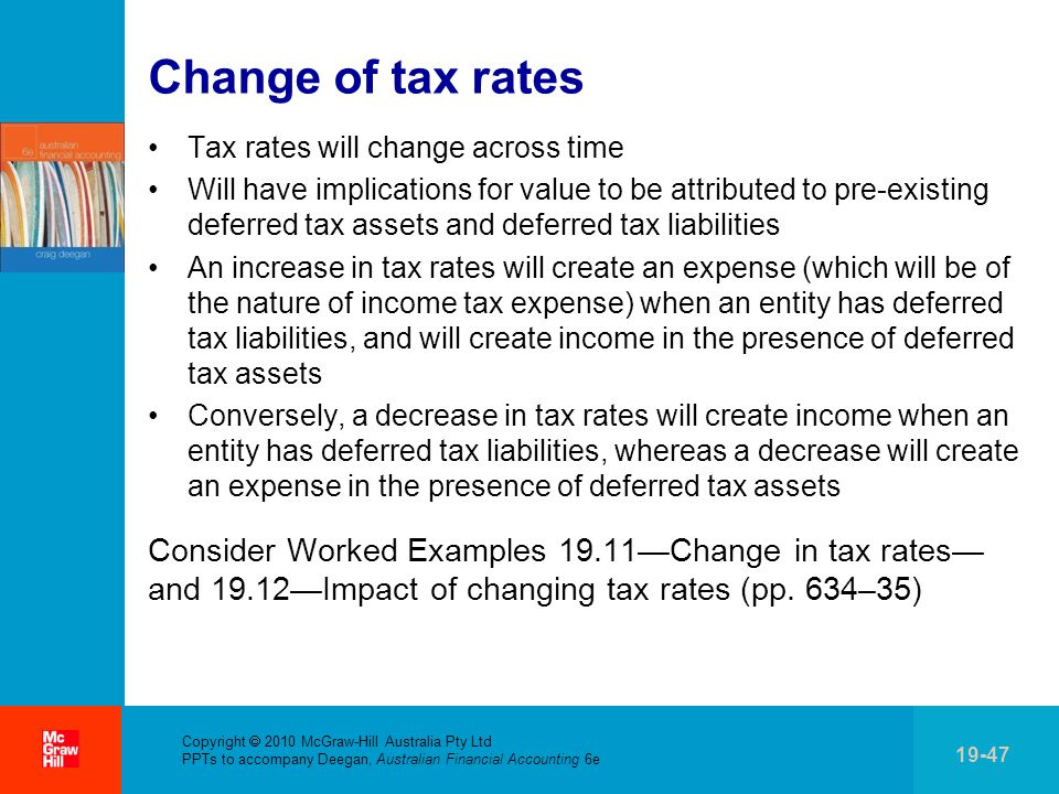Change of tax rates Tax rates will change across time.