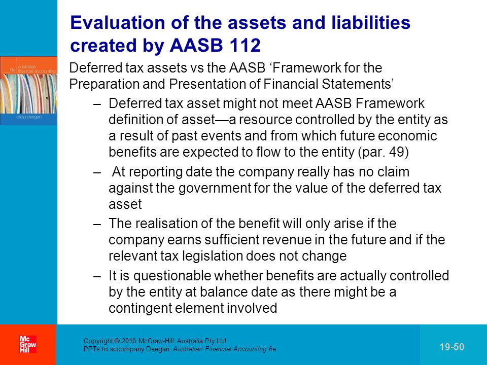 Evaluation of the assets and liabilities created by AASB 112
