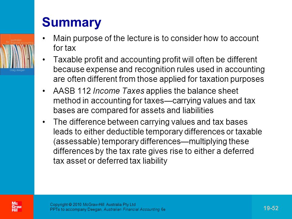 Summary Main purpose of the lecture is to consider how to account for tax.