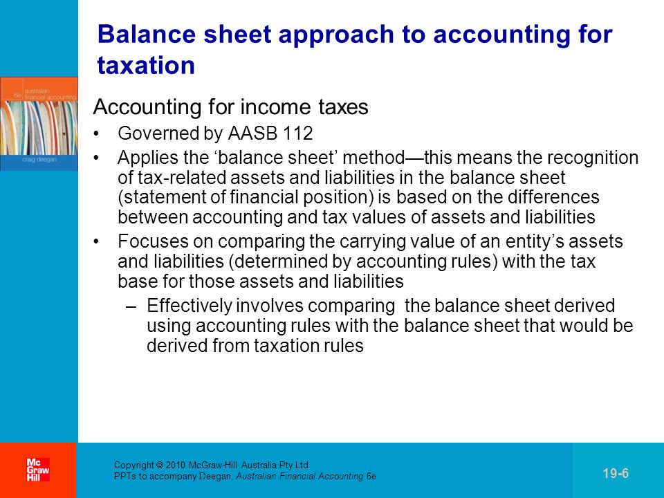 Balance sheet approach to accounting for taxation