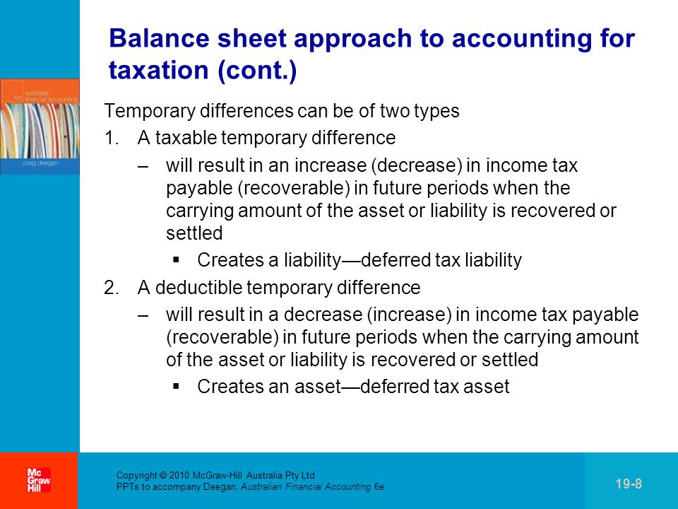 Balance sheet approach to accounting for taxation (cont.)