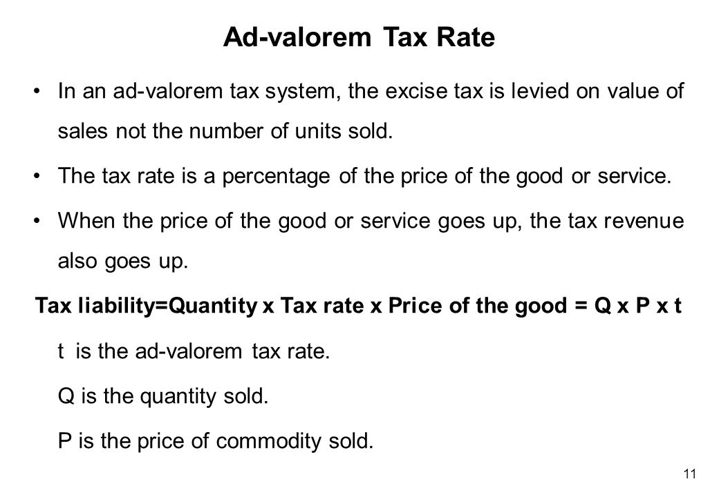 Tax on producer = Q x P x tax rate (ad-valorem)