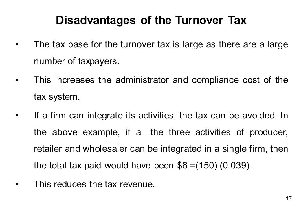 Disadvantages of the Turnover Tax (Cont'd)