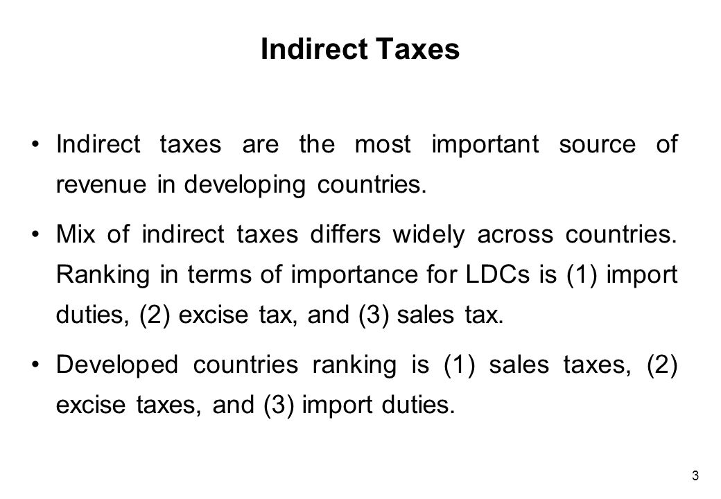 Indirect Taxes (Cont'd)