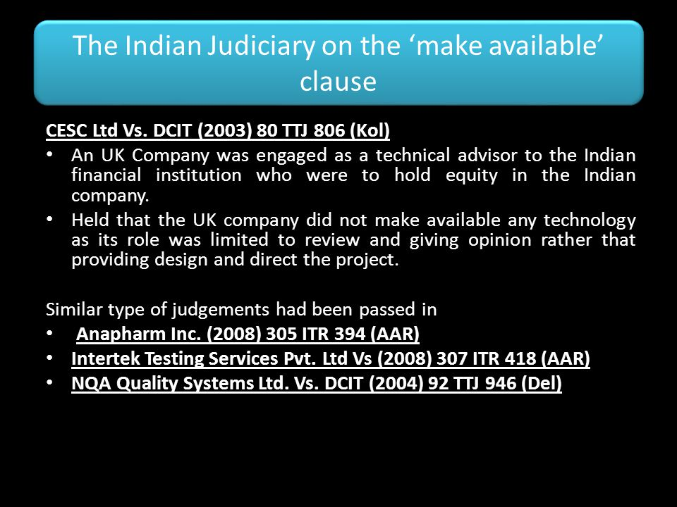 The Indian Judiciary on the 'make available' clause