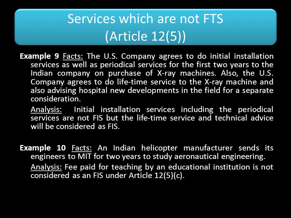 Services which are not FTS (Article 12(5))