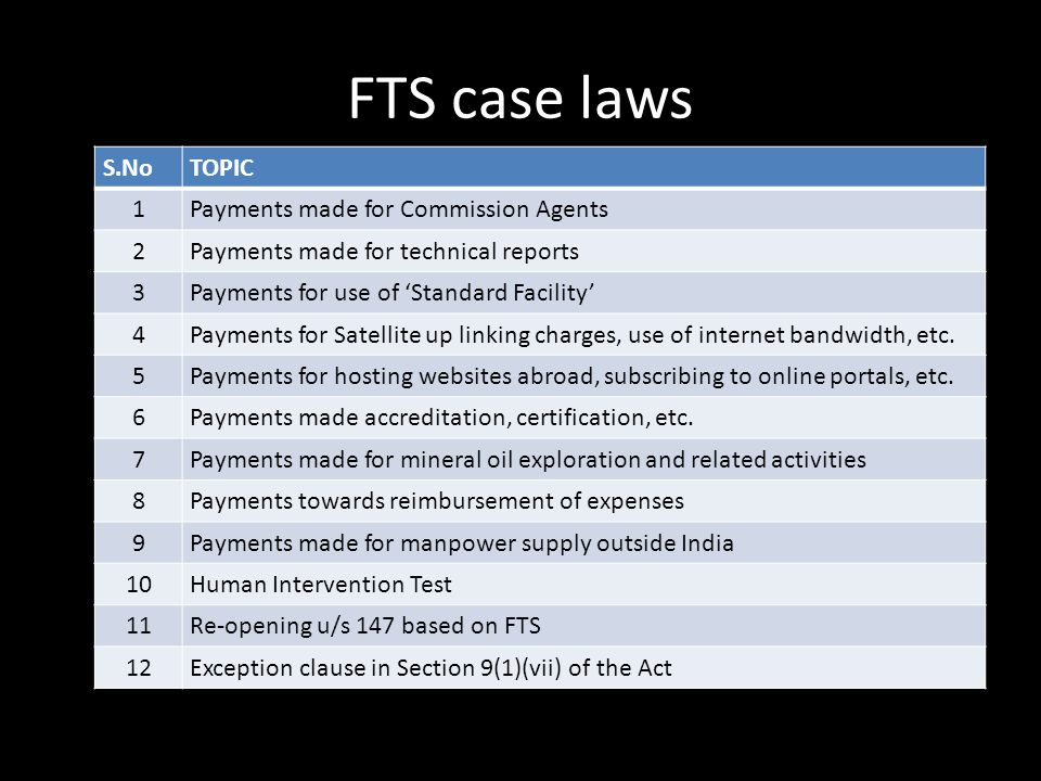 FTS case laws S.No TOPIC 1 Payments made for Commission Agents 2