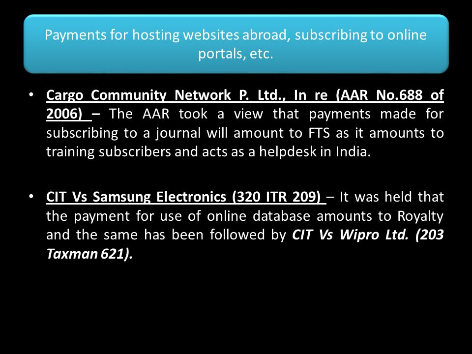 Payments for hosting websites abroad, subscribing to online portals, etc.