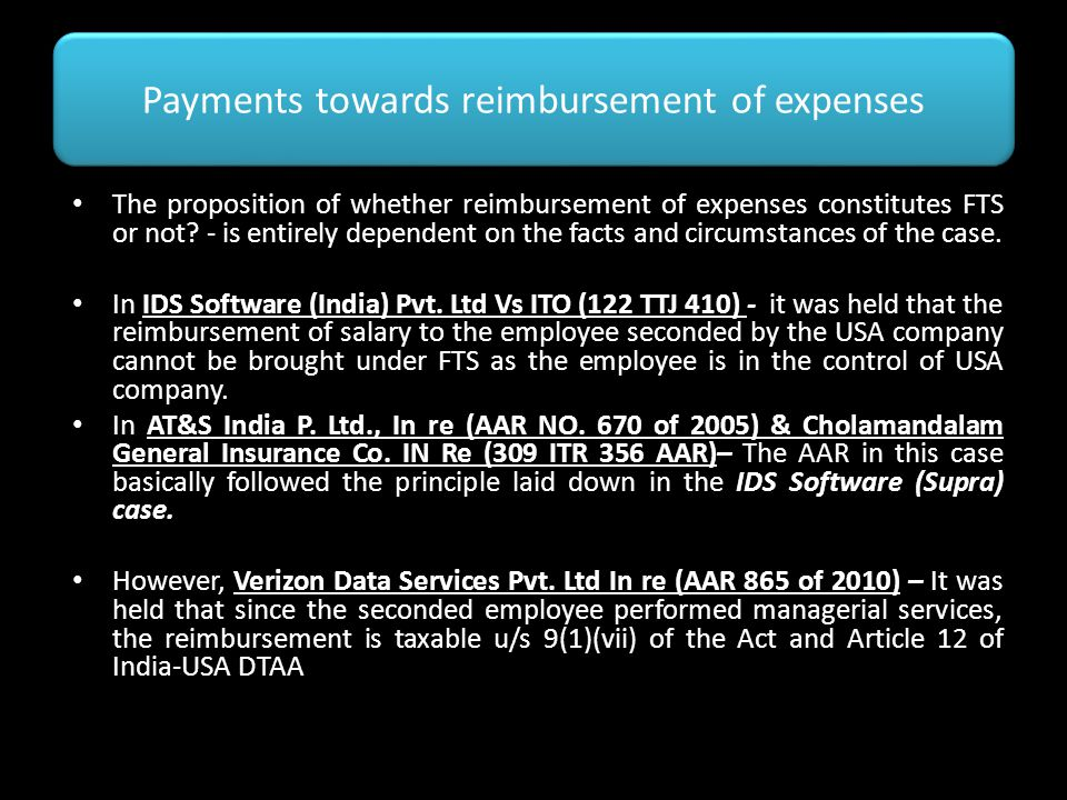Payments towards reimbursement of expenses