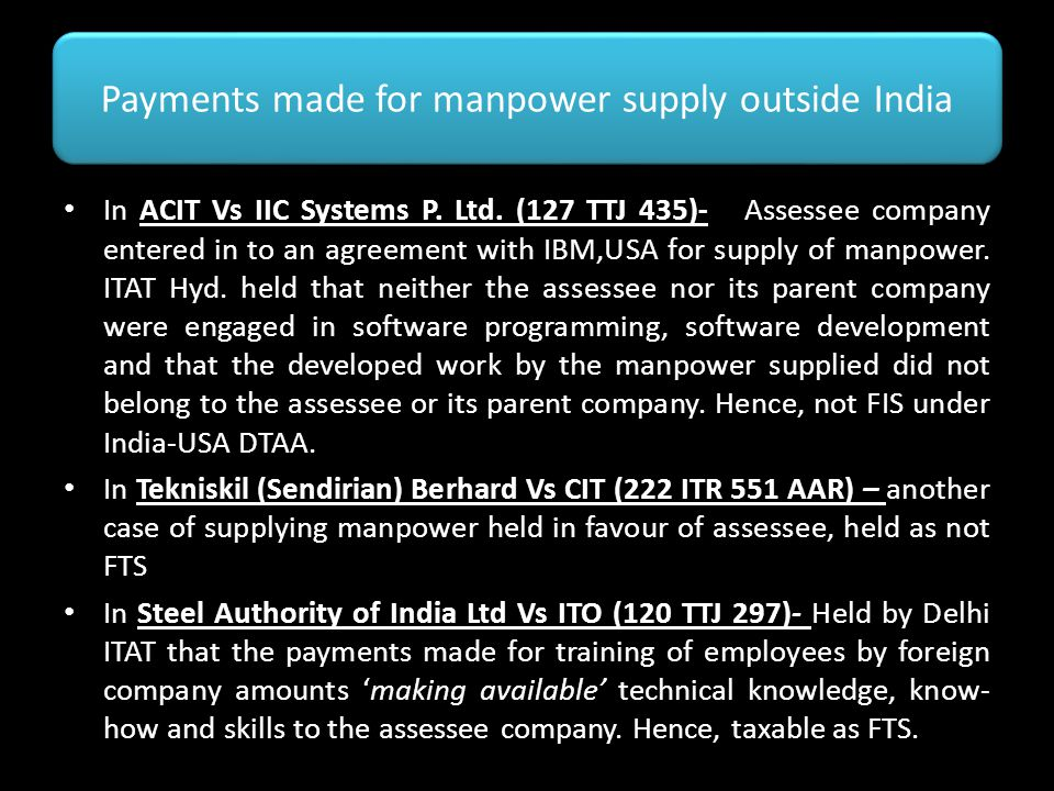 Payments made for manpower supply outside India