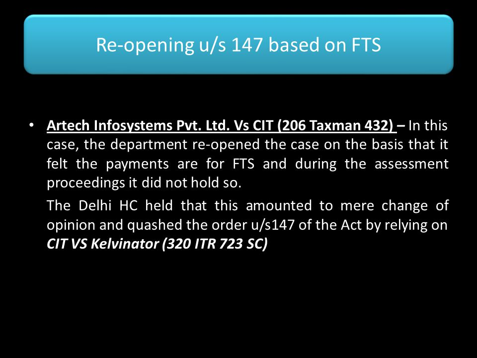 Re-opening u/s 147 based on FTS