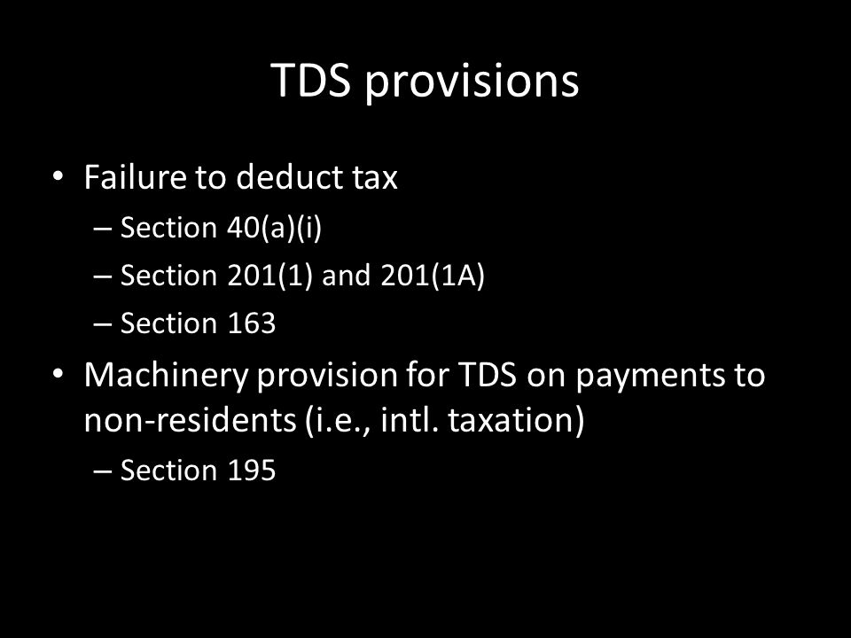 TDS provisions Failure to deduct tax