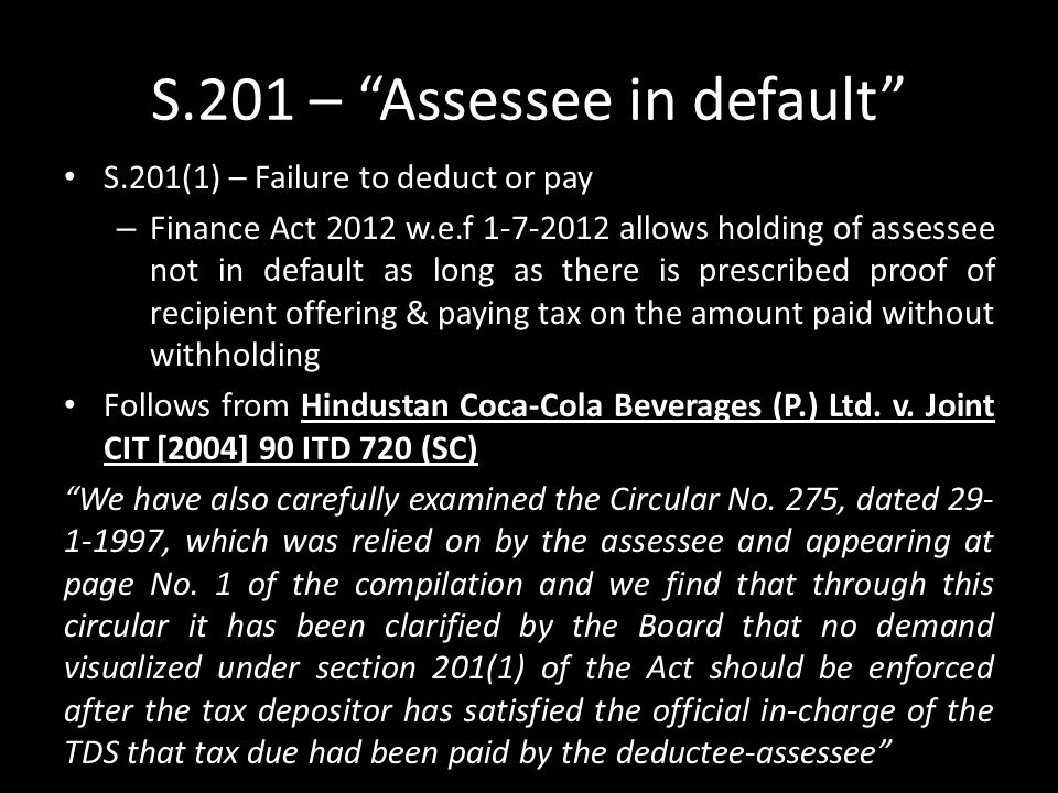 S.201 – Assessee in default