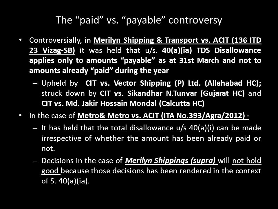 The paid vs. payable controversy