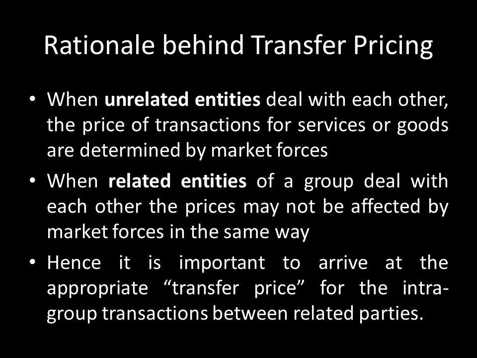 Rationale behind Transfer Pricing