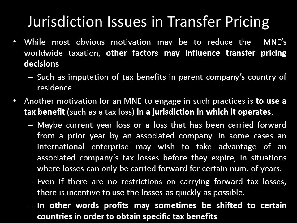 Jurisdiction Issues in Transfer Pricing