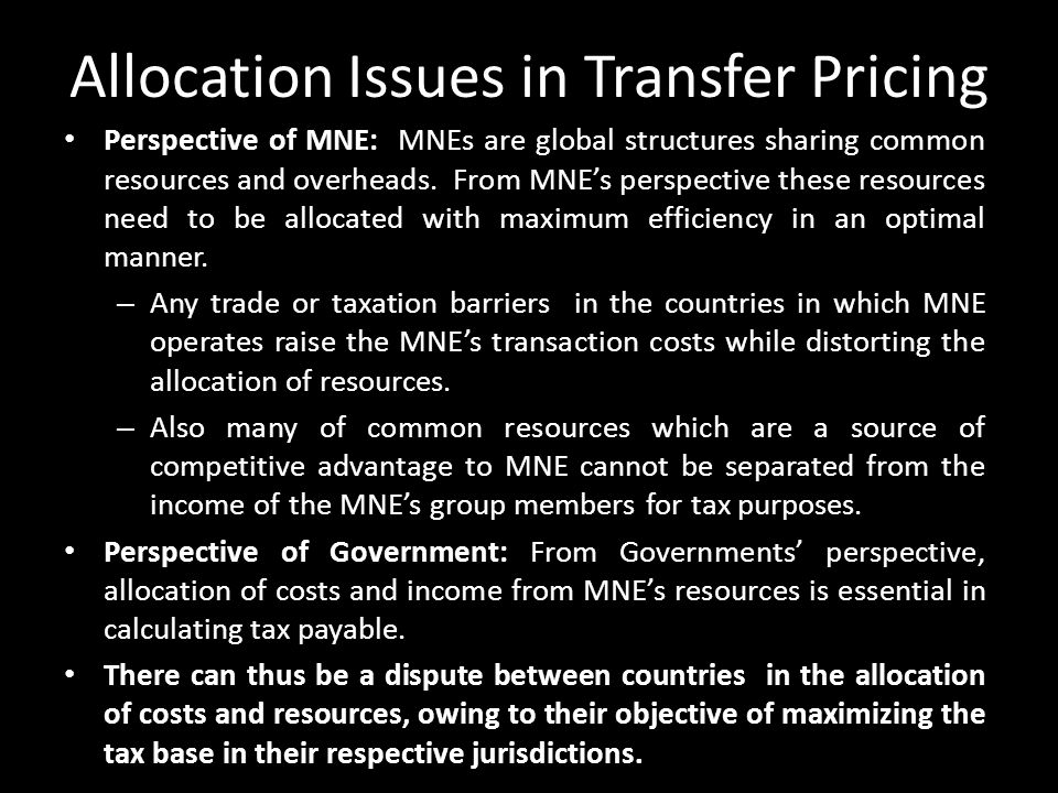 Allocation Issues in Transfer Pricing