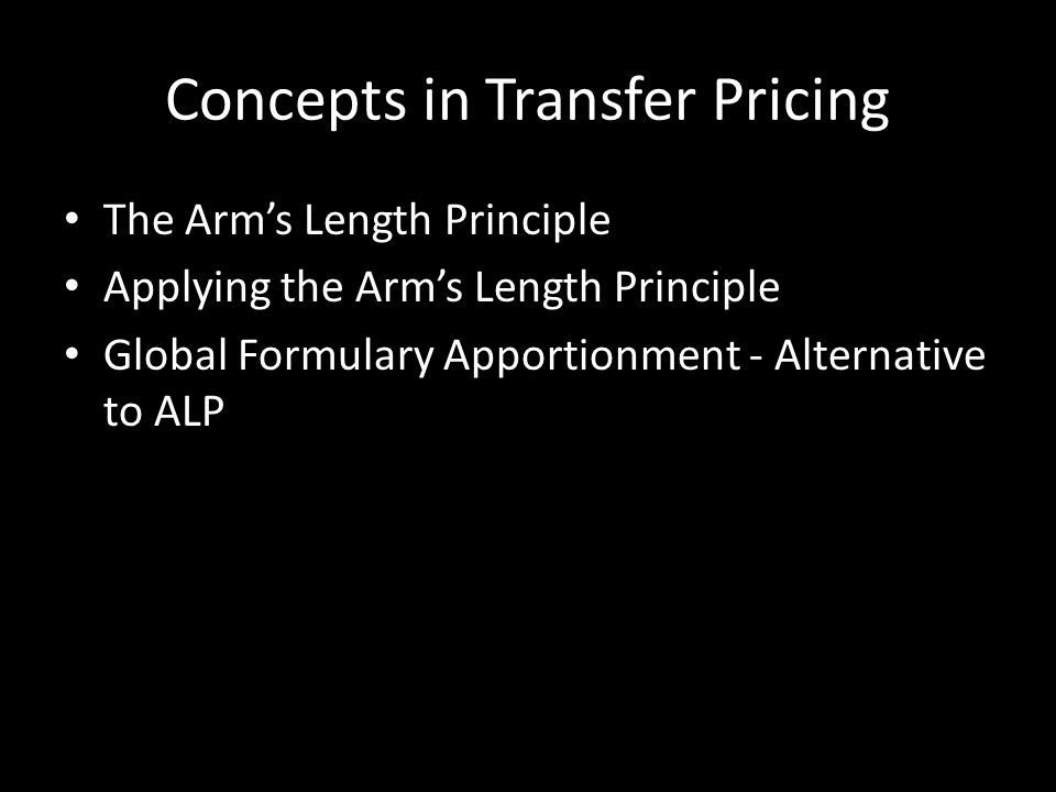Concepts in Transfer Pricing