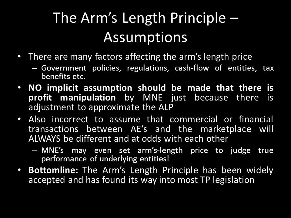 The Arm's Length Principle – Assumptions