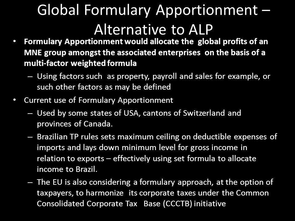 Global Formulary Apportionment – Alternative to ALP