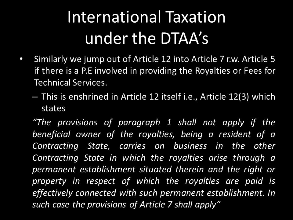 International Taxation under the DTAA's