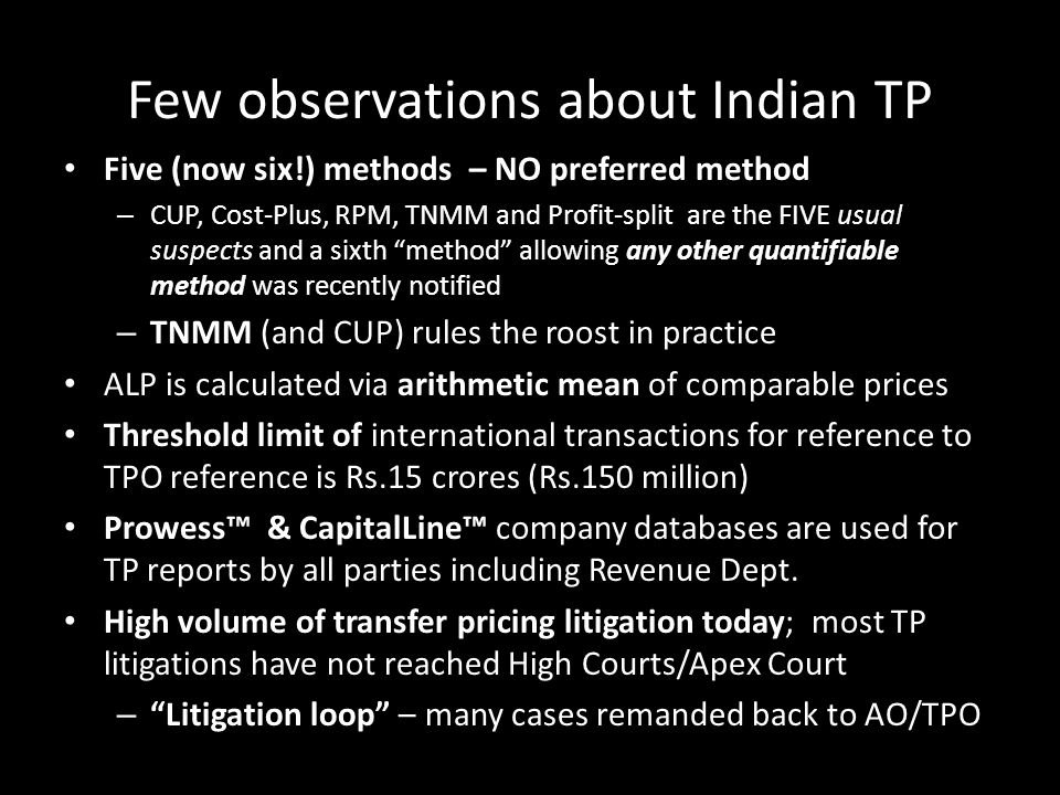 Few observations about Indian TP