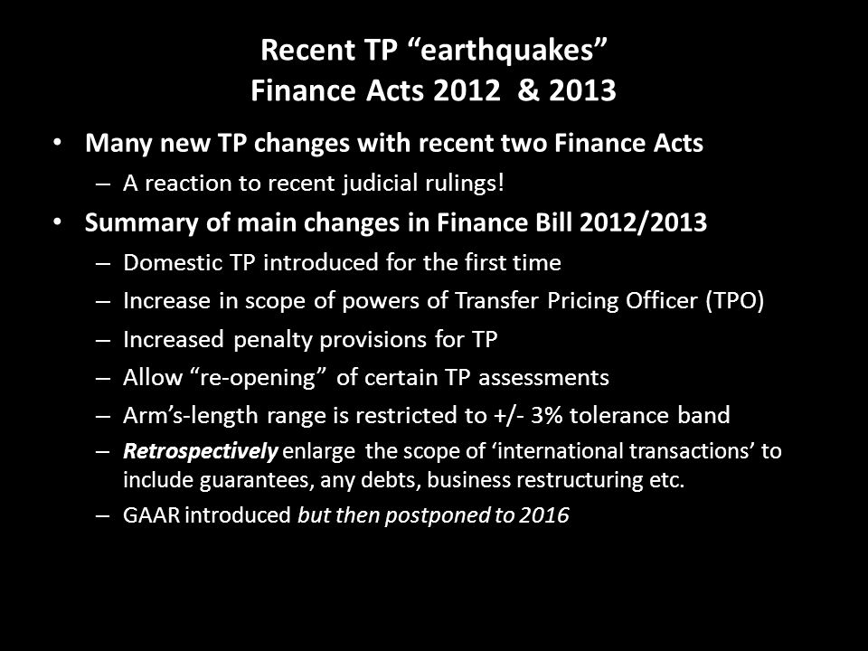 Recent TP earthquakes Finance Acts 2012 & 2013