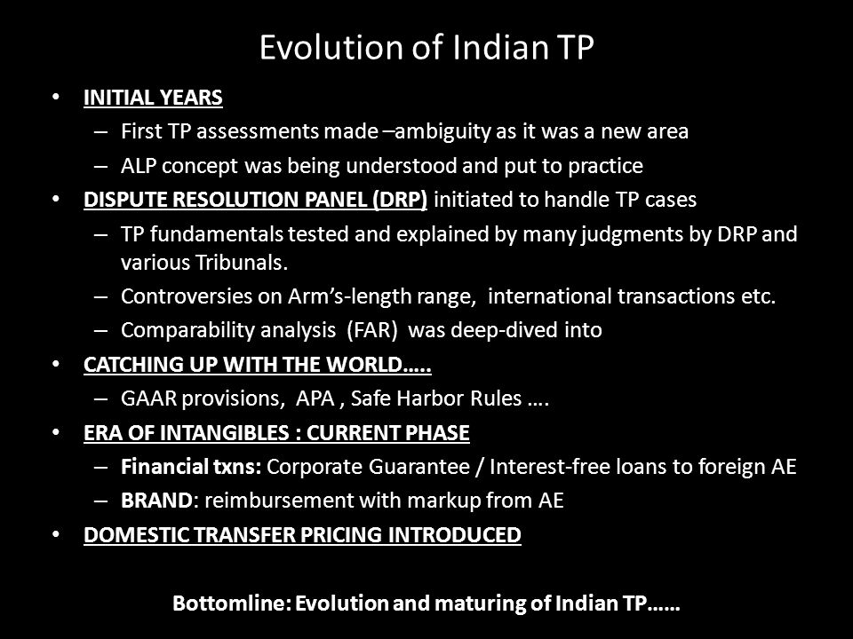 Bottomline: Evolution and maturing of Indian TP……