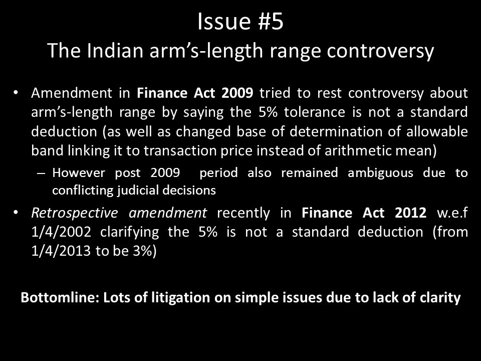 Issue #5 The Indian arm's-length range controversy