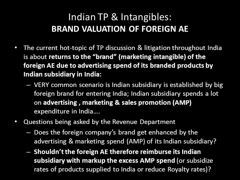 Indian TP & Intangibles: BRAND VALUATION OF FOREIGN AE