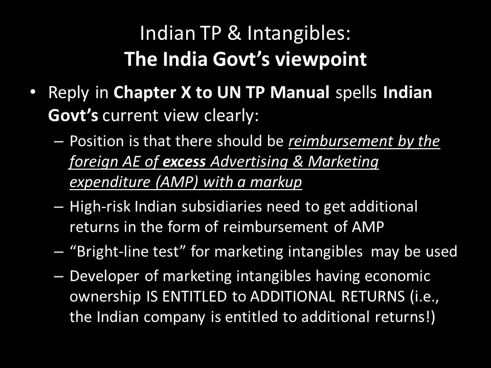 Indian TP & Intangibles: The India Govt's viewpoint