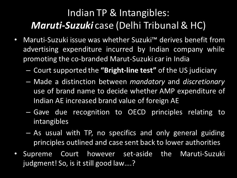 Indian TP & Intangibles: Maruti-Suzuki case (Delhi Tribunal & HC)