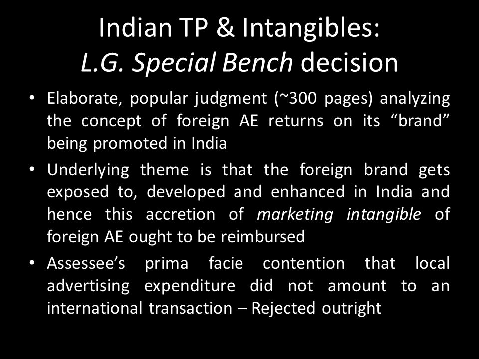 Indian TP & Intangibles: L.G. Special Bench decision