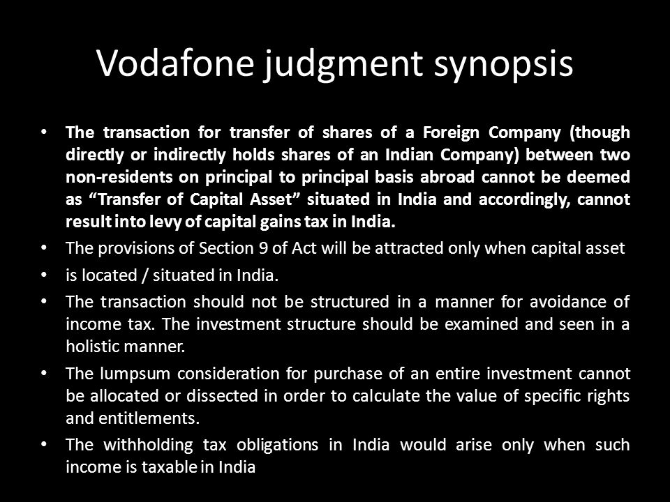 Vodafone judgment synopsis