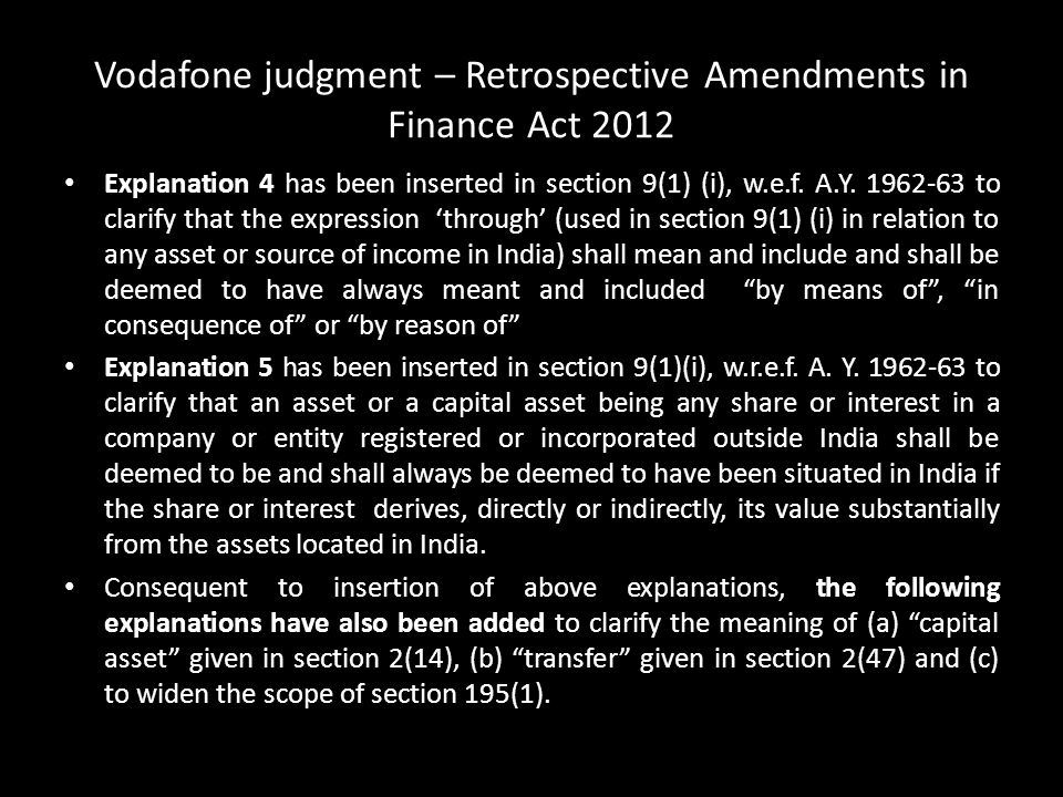 Vodafone judgment – Retrospective Amendments in Finance Act 2012