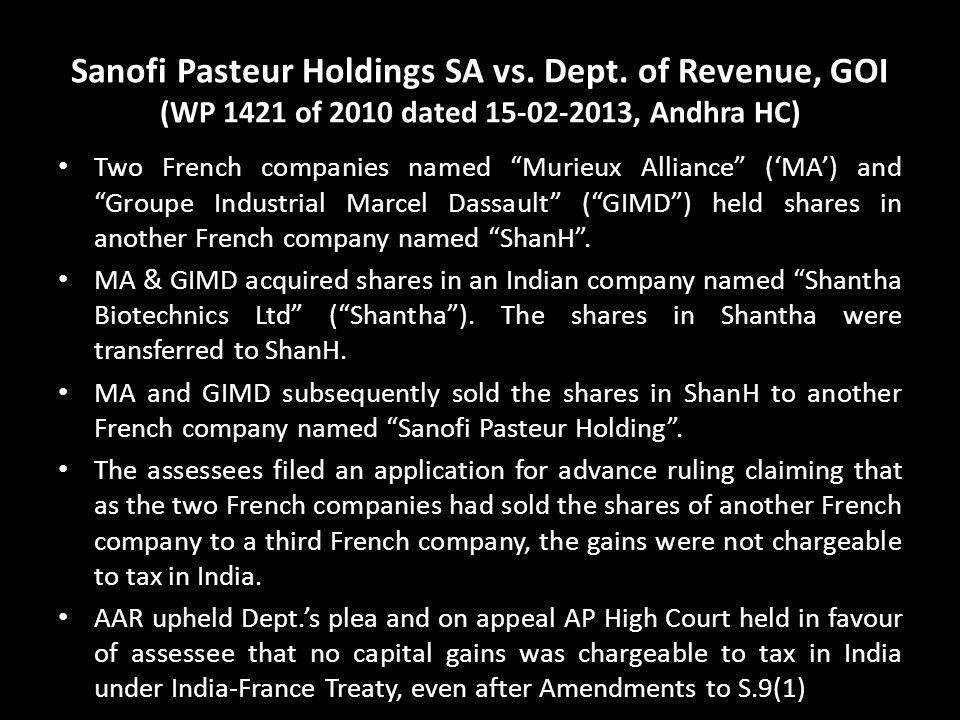 Sanofi Pasteur Holdings SA vs. Dept