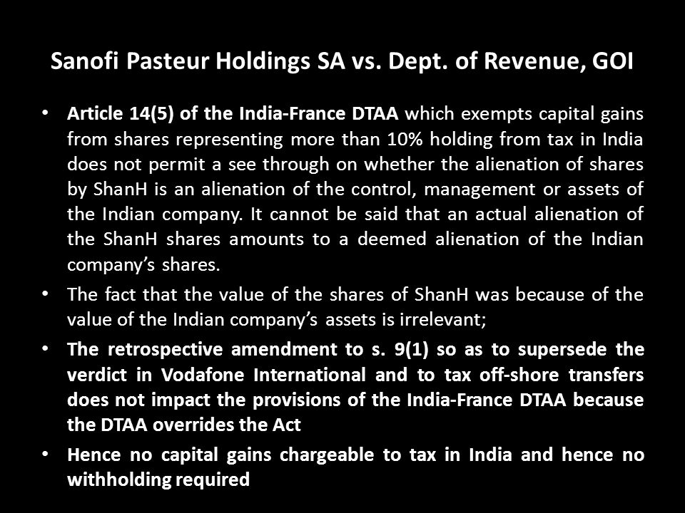Sanofi Pasteur Holdings SA vs. Dept. of Revenue, GOI