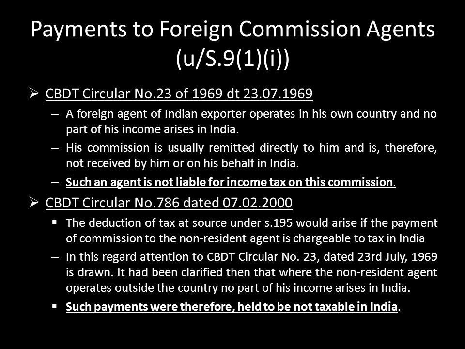 Payments to Foreign Commission Agents (u/S.9(1)(i))